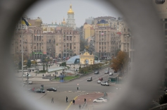 Zicht op Maidan in Kiev